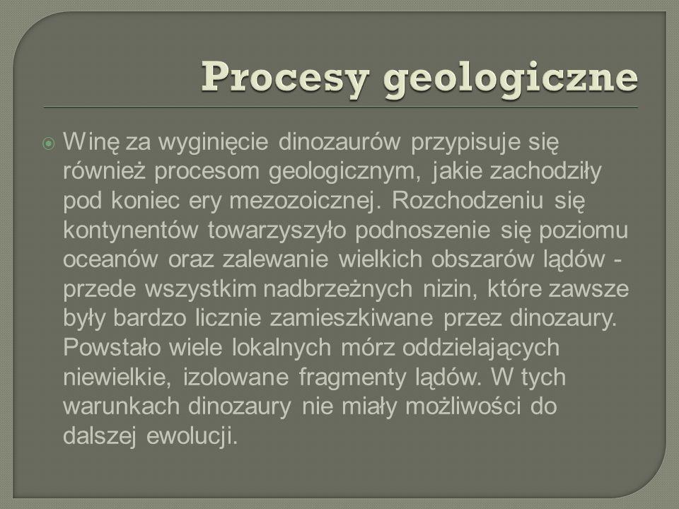 Winę za wyginięcie dinozaurów przypisuje się również procesom geologicznym, jakie zachodziły pod koniec ery mezozoicznej. Rozchodzeniu się kontynentów