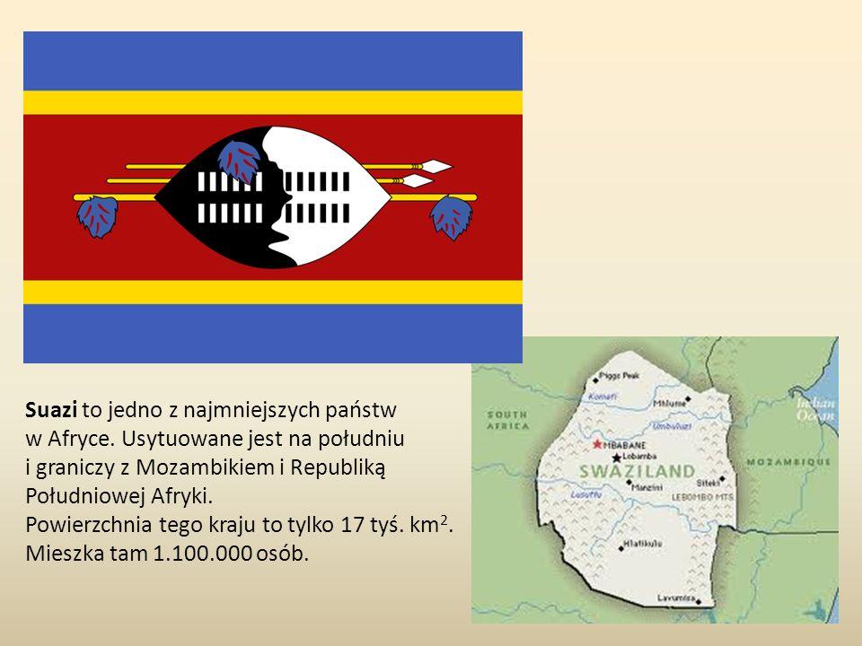 Suazi to jedno z najmniejszych państw w Afryce. Usytuowane jest na południu i graniczy z Mozambikiem i Republiką Południowej Afryki. Powierzchnia tego