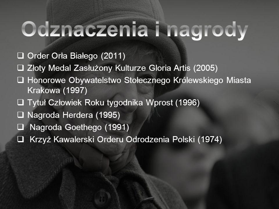 Order Orła Białego (2011) Złoty Medal Zasłużony Kulturze Gloria Artis (2005) Honorowe Obywatelstwo Stołecznego Królewskiego Miasta Krakowa (1997) Tytu