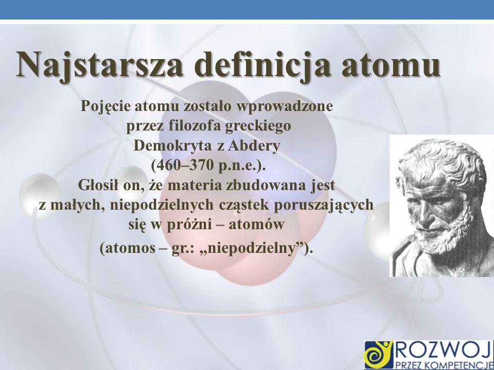 Pojęcie atomu zostało wprowadzone przez filozofa greckiego Demokryta z Abdery (460–370 p.n.e.).