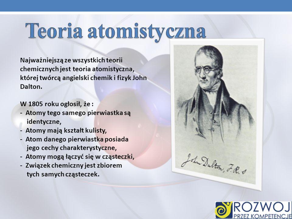 Najważniejszą ze wszystkich teorii chemicznych jest teoria atomistyczna, której twórcą angielski chemik i fizyk John Dalton.