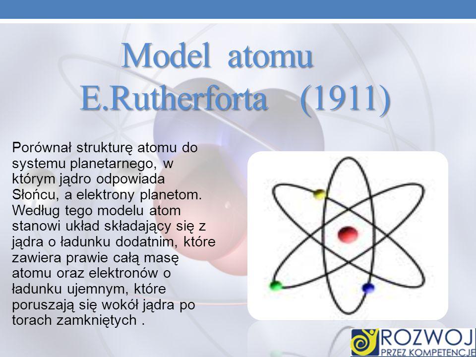Model atomu E.Rutherforta (1911) Model atomu E.Rutherforta (1911) Porównał strukturę atomu do systemu planetarnego, w którym jądro odpowiada Słońcu, a elektrony planetom.