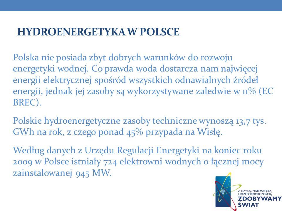 HYDROENERGETYKA W POLSCE Polska nie posiada zbyt dobrych warunków do rozwoju energetyki wodnej. Co prawda woda dostarcza nam najwięcej energii elektry