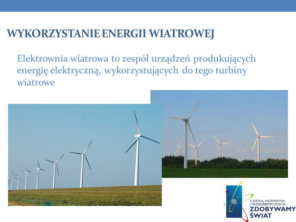 WYKORZYSTANIE ENERGII WIATROWEJ Elektrownia wiatrowa to zespół urządzeń produkujących energię elektryczną, wykorzystujących do tego turbiny wiatrowe