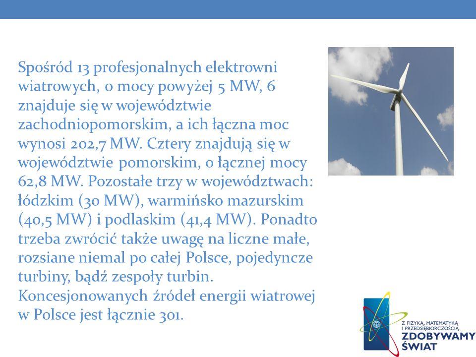 Spośród 13 profesjonalnych elektrowni wiatrowych, o mocy powyżej 5 MW, 6 znajduje się w województwie zachodniopomorskim, a ich łączna moc wynosi 202,7
