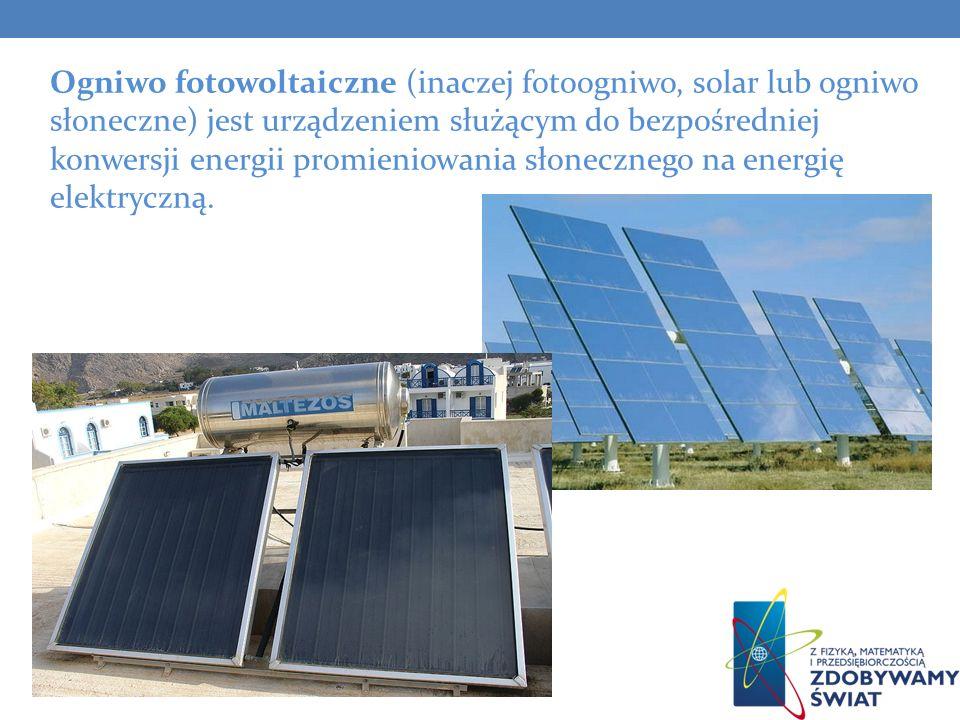 Ogniwo fotowoltaiczne (inaczej fotoogniwo, solar lub ogniwo słoneczne) jest urządzeniem służącym do bezpośredniej konwersji energii promieniowania sło