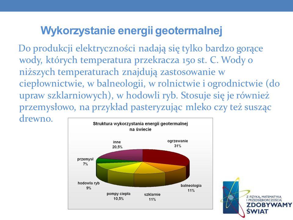 Wykorzystanie energii geotermalnej Do produkcji elektryczności nadają się tylko bardzo gorące wody, których temperatura przekracza 150 st. C. Wody o n