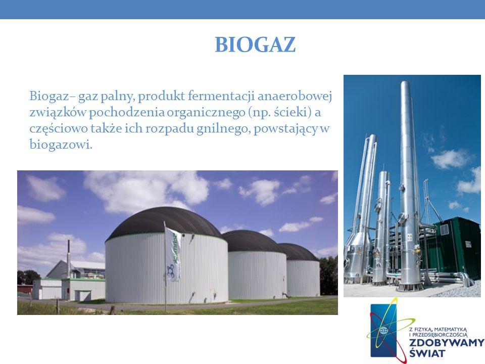 BIOGAZ Biogaz– gaz palny, produkt fermentacji anaerobowej związków pochodzenia organicznego (np. ścieki) a częściowo także ich rozpadu gnilnego, powst