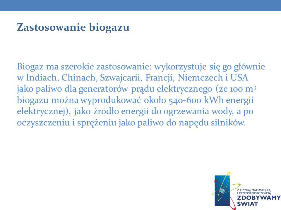 Zastosowanie biogazu Biogaz ma szerokie zastosowanie: wykorzystuje się go głównie w Indiach, Chinach, Szwajcarii, Francji, Niemczech i USA jako paliwo