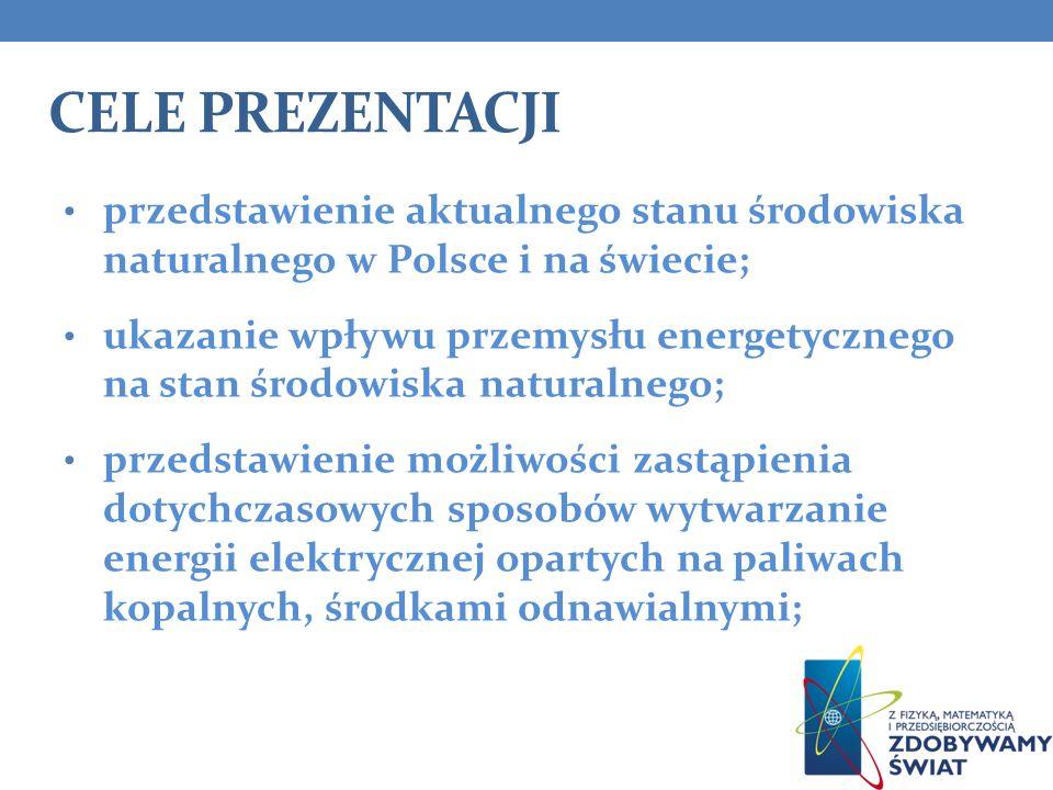 CELE PREZENTACJI przedstawienie aktualnego stanu środowiska naturalnego w Polsce i na świecie; ukazanie wpływu przemysłu energetycznego na stan środow