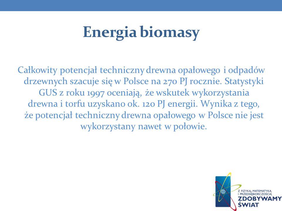 Energia biomasy Całkowity potencjał techniczny drewna opałowego i odpadów drzewnych szacuje się w Polsce na 270 PJ rocznie. Statystyki GUS z roku 1997