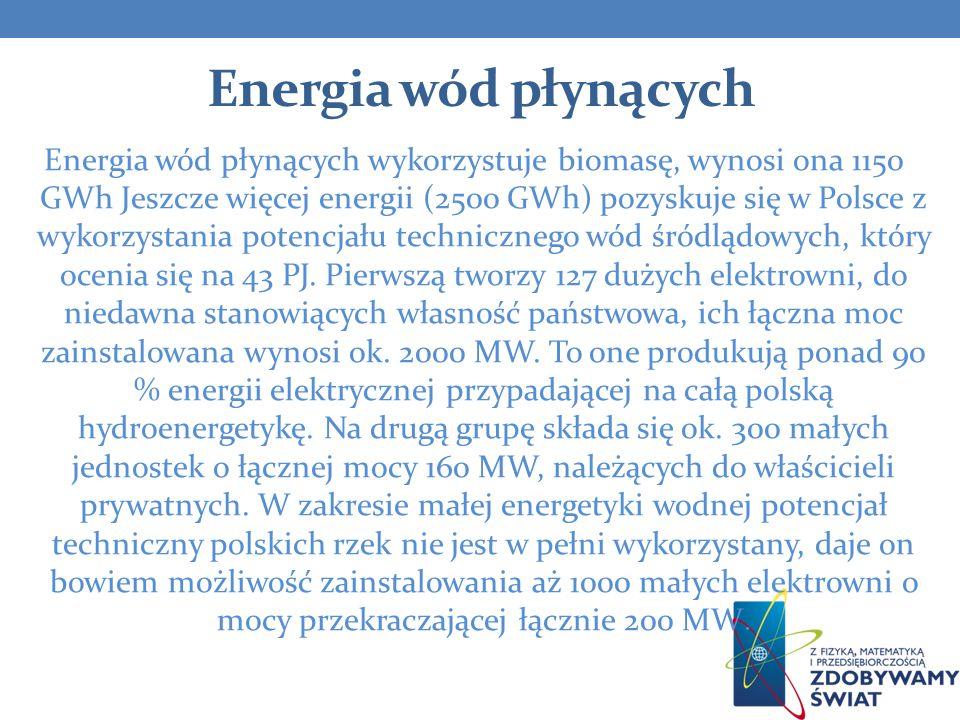 Energia wód płynących Energia wód płynących wykorzystuje biomasę, wynosi ona 1150 GWh Jeszcze więcej energii (2500 GWh) pozyskuje się w Polsce z wykor