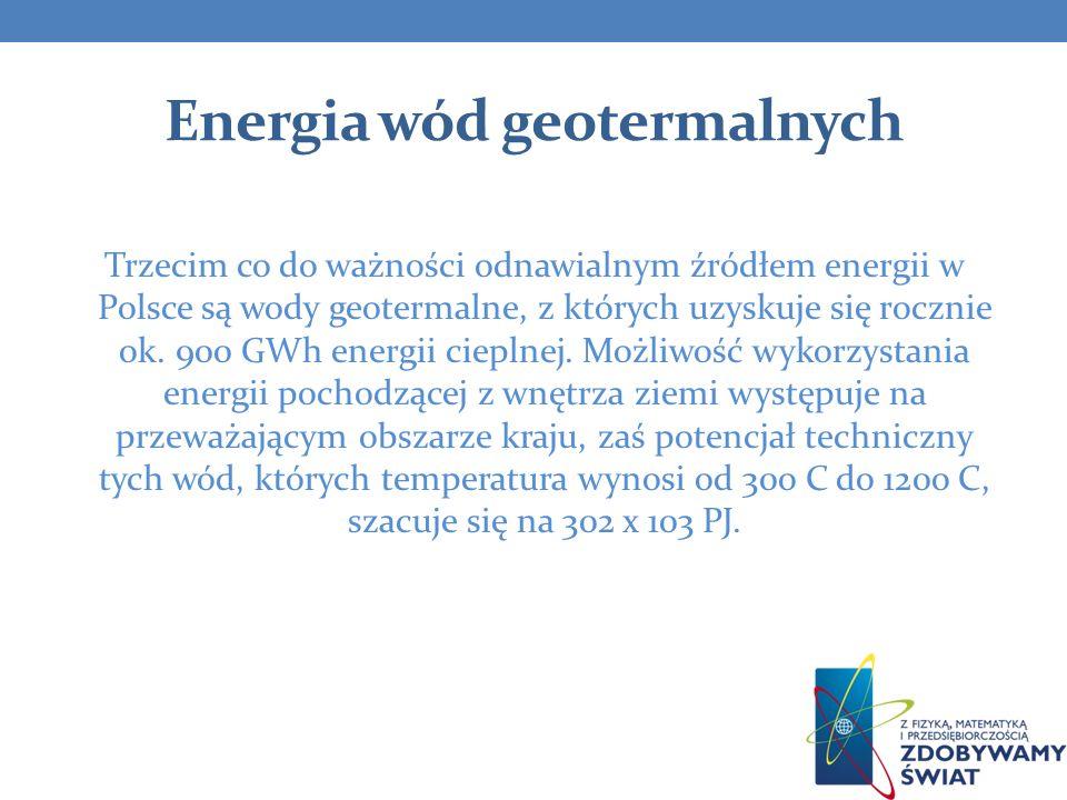 Energia wód geotermalnych Trzecim co do ważności odnawialnym źródłem energii w Polsce są wody geotermalne, z których uzyskuje się rocznie ok. 900 GWh