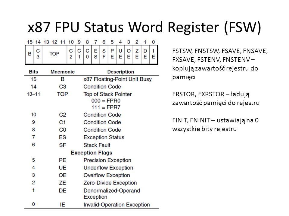 x87 FPU Status Word Register (FSW) FSTSW, FNSTSW, FSAVE, FNSAVE, FXSAVE, FSTENV, FNSTENV – kopiują zawartość rejestru do pamięci FRSTOR, FXRSTOR – ład