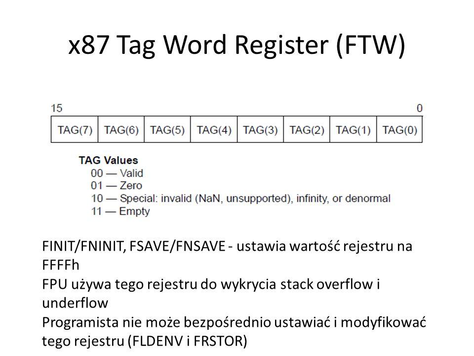 x87 Tag Word Register (FTW) FINIT/FNINIT, FSAVE/FNSAVE - ustawia wartość rejestru na FFFFh FPU używa tego rejestru do wykrycia stack overflow i underf
