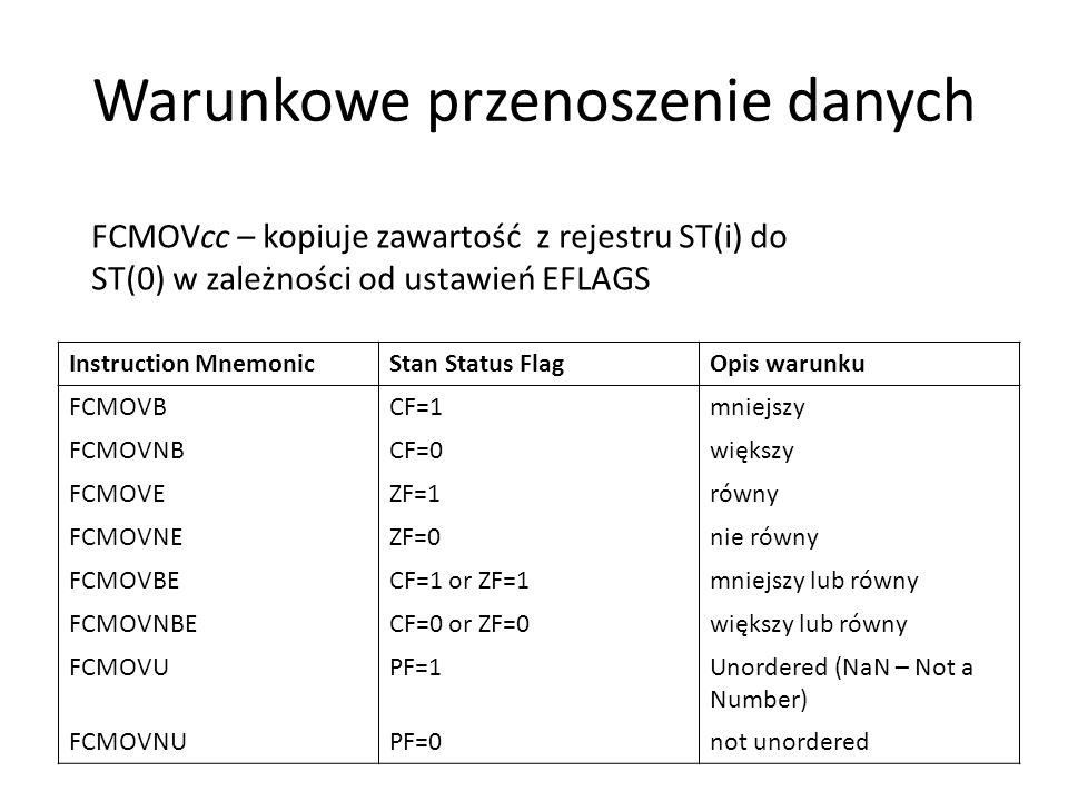 Warunkowe przenoszenie danych Instruction MnemonicStan Status FlagOpis warunku FCMOVBCF=1mniejszy FCMOVNBCF=0większy FCMOVEZF=1równy FCMOVNEZF=0nie ró