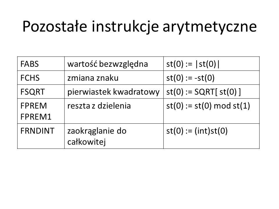 Pozostałe instrukcje arytmetyczne FABSwartość bezwzględnast(0) := |st(0)| FCHSzmiana znakust(0) := -st(0) FSQRTpierwiastek kwadratowyst(0) := SQRT[ st