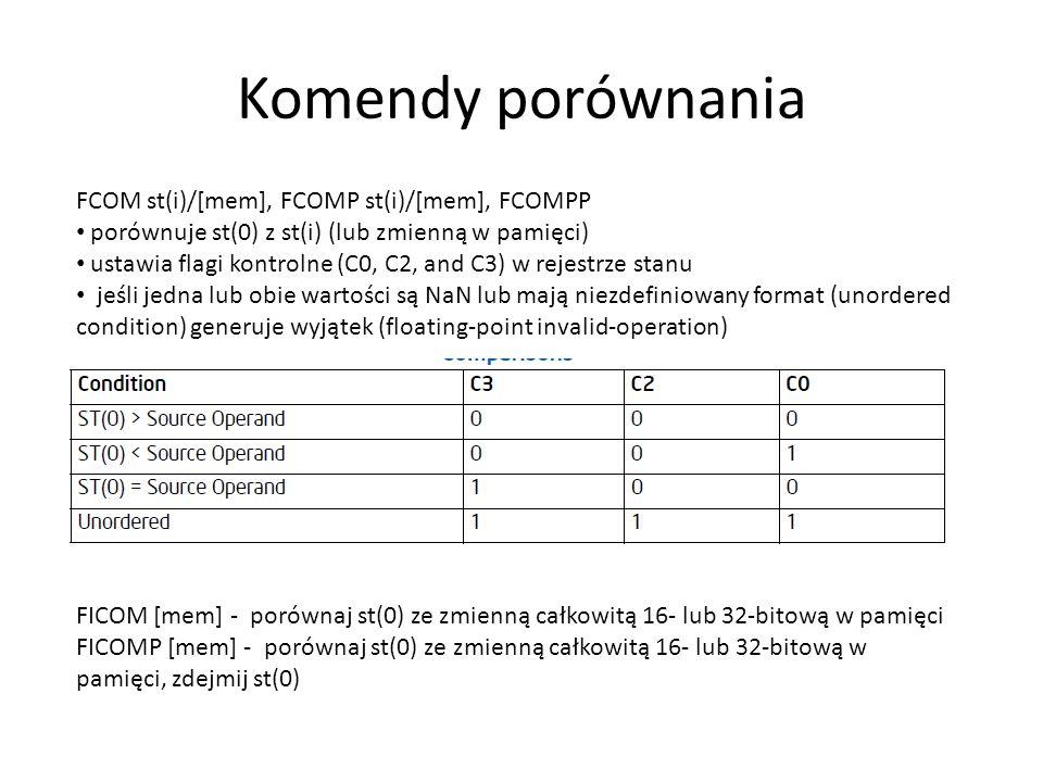Komendy porównania FCOM st(i)/[mem], FCOMP st(i)/[mem], FCOMPP porównuje st(0) z st(i) (lub zmienną w pamięci) ustawia flagi kontrolne (C0, C2, and C3