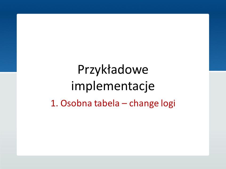 Przykładowe implementacje 1. Osobna tabela – change logi
