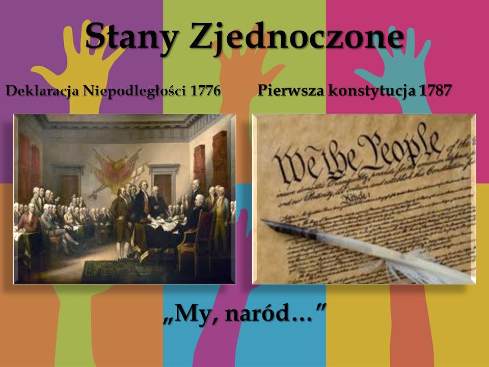 Stany Zjednoczone Deklaracja Niepodległości 1776 Pierwsza konstytucja 1787 My, naród…