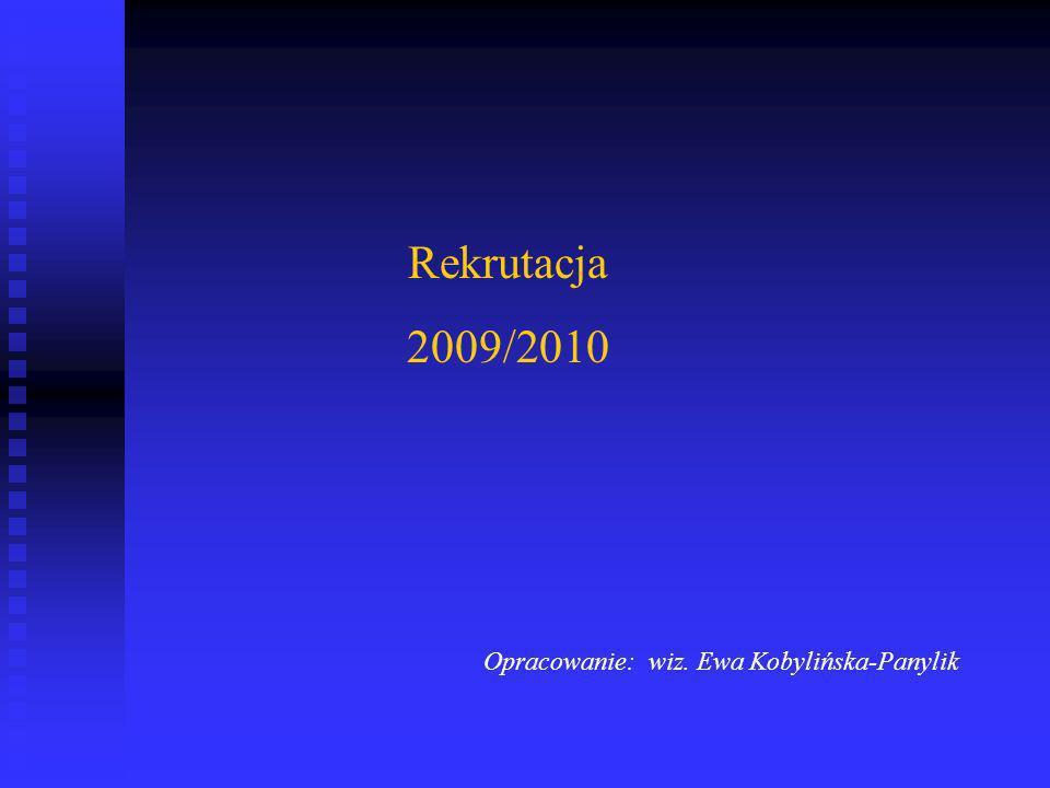 Rekrutacja 2009/2010 Opracowanie: wiz. Ewa Kobylińska-Panylik