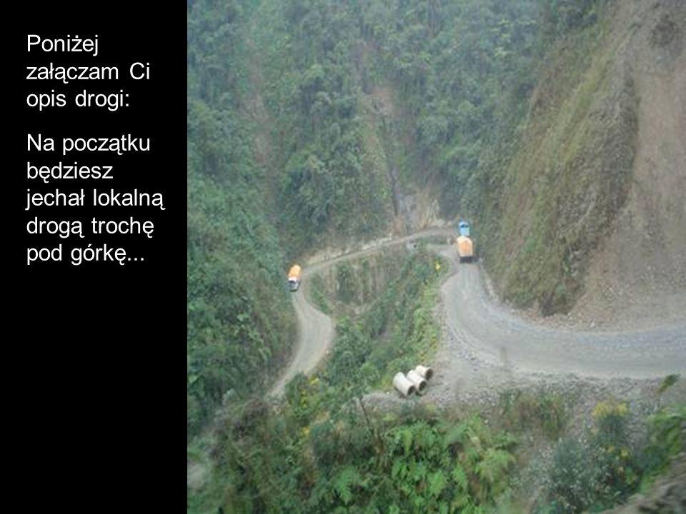 Poniżej załączam Ci opis drogi: Na początku będziesz jechał lokalną drogą trochę pod górkę...