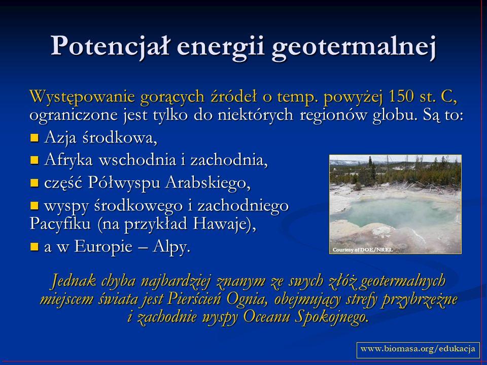Potencjał energii geotermalnej Występowanie gorących źródeł o temp.