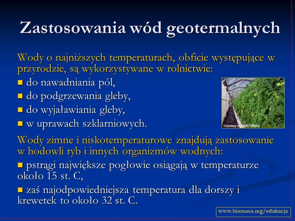 Zastosowania wód geotermalnych Wody o najniższych temperaturach, obficie występujące w przyrodzie, są wykorzystywane w rolnictwie: do nawadniania pól, do nawadniania pól, do podgrzewania gleby, do podgrzewania gleby, do wyjaławiania gleby, do wyjaławiania gleby, w uprawach szklarniowych.