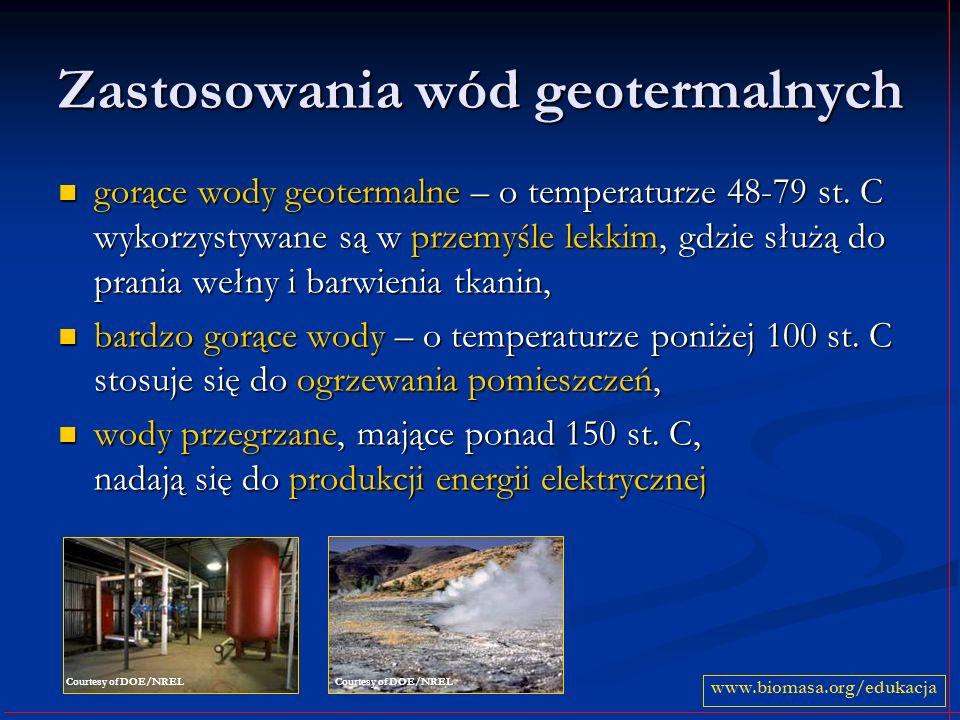 Zastosowania wód geotermalnych gorące wody geotermalne – o temperaturze 48-79 st.