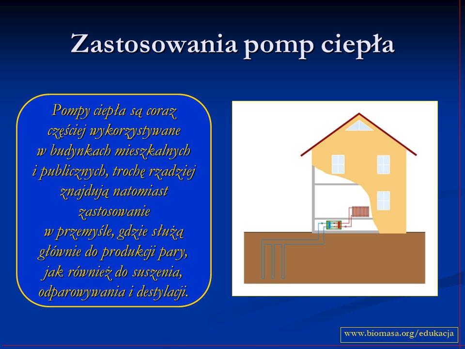 Zastosowania pomp ciepła www.biomasa.org/edukacja Pompy ciepła są coraz częściej wykorzystywane w budynkach mieszkalnych i publicznych, trochę rzadziej znajdują natomiast zastosowanie w przemyśle, gdzie służą głównie do produkcji pary, jak również do suszenia, odparowywania i destylacji.