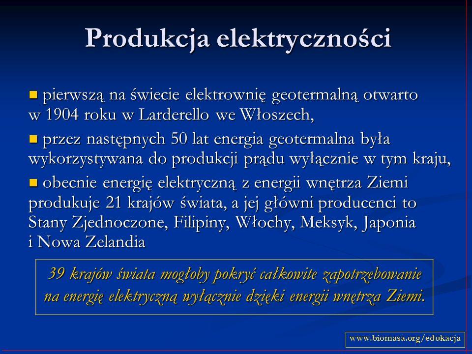 Produkcja elektryczności pierwszą na świecie elektrownię geotermalną otwarto w 1904 roku w Larderello we Włoszech, pierwszą na świecie elektrownię geotermalną otwarto w 1904 roku w Larderello we Włoszech, przez następnych 50 lat energia geotermalna była wykorzystywana do produkcji prądu wyłącznie w tym kraju, przez następnych 50 lat energia geotermalna była wykorzystywana do produkcji prądu wyłącznie w tym kraju, obecnie energię elektryczną z energii wnętrza Ziemi produkuje 21 krajów świata, a jej główni producenci to Stany Zjednoczone, Filipiny, Włochy, Meksyk, Japonia i Nowa Zelandia obecnie energię elektryczną z energii wnętrza Ziemi produkuje 21 krajów świata, a jej główni producenci to Stany Zjednoczone, Filipiny, Włochy, Meksyk, Japonia i Nowa Zelandia 39 krajów świata mogłoby pokryć całkowite zapotrzebowanie na energię elektryczną wyłącznie dzięki energii wnętrza Ziemi.