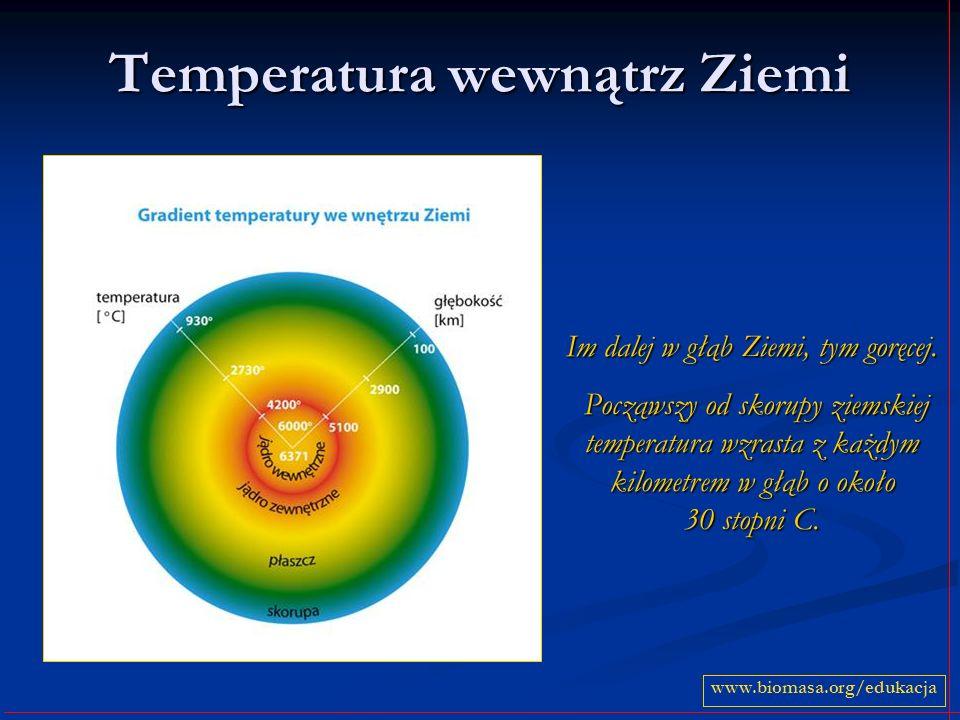 Temperatura wewnątrz Ziemi Im dalej w głąb Ziemi, tym goręcej.