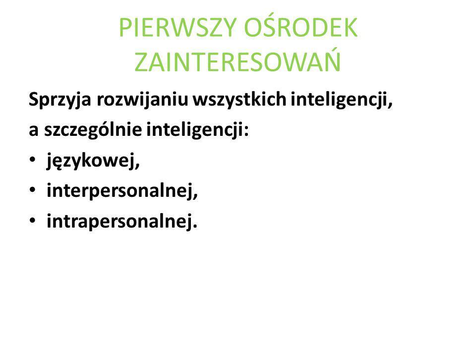 PIERWSZY OŚRODEK ZAINTERESOWAŃ Sprzyja rozwijaniu wszystkich inteligencji, a szczególnie inteligencji: językowej, interpersonalnej, intrapersonalnej.