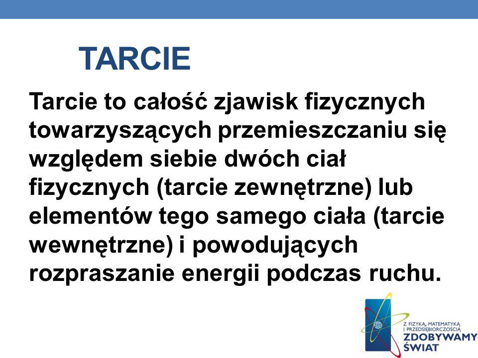 TARCIE Tarcie to całość zjawisk fizycznych towarzyszących przemieszczaniu się względem siebie dwóch ciał fizycznych (tarcie zewnętrzne) lub elementów