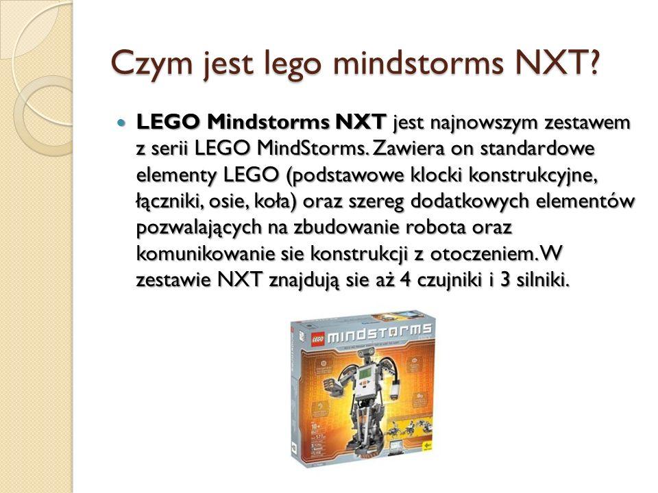 Czym jest lego mindstorms NXT? LEGO Mindstorms NXT jest najnowszym zestawem z serii LEGO MindStorms. Zawiera on standardowe elementy LEGO (podstawowe