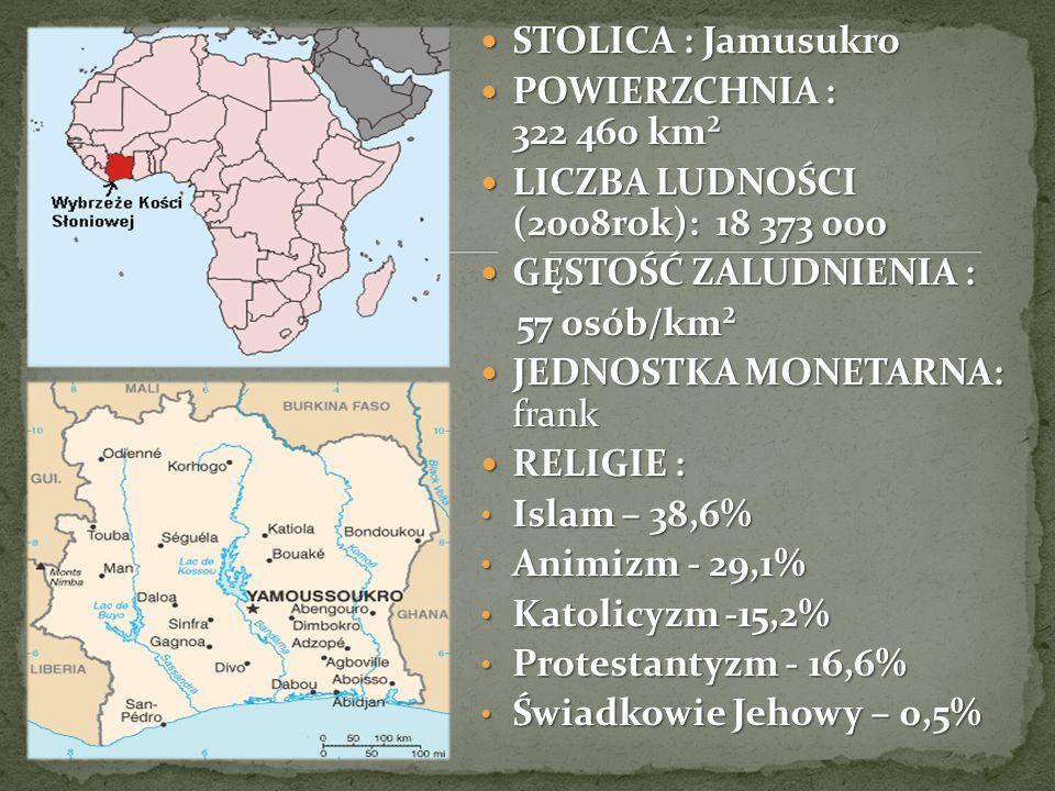 STOLICA : Jamusukro STOLICA : Jamusukro POWIERZCHNIA : 322 460 km² POWIERZCHNIA : 322 460 km² LICZBA LUDNOŚCI (2008rok): 18 373 000 LICZBA LUDNOŚCI (2