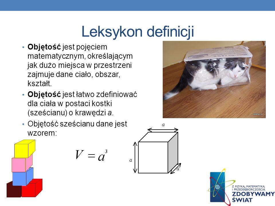 Leksykon definicji Objętość jest pojęciem matematycznym, określającym jak dużo miejsca w przestrzeni zajmuje dane ciało, obszar, kształt. Objętość jes