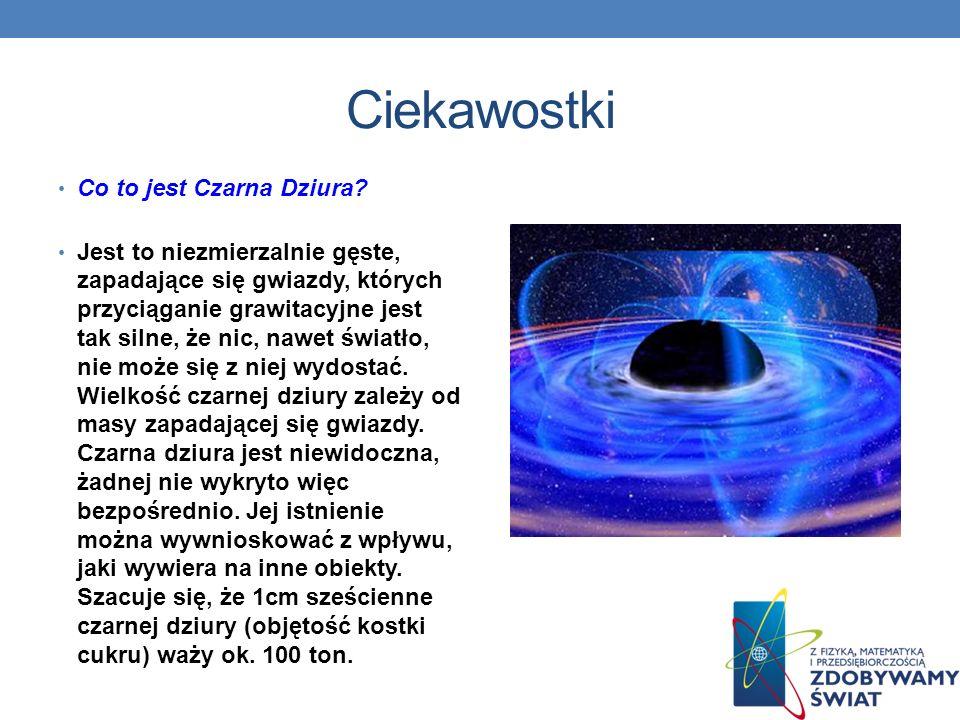 Ciekawostki Co to jest Czarna Dziura? Jest to niezmierzalnie gęste, zapadające się gwiazdy, których przyciąganie grawitacyjne jest tak silne, że nic,