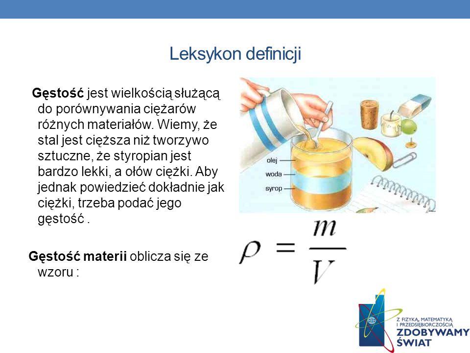 Leksykon definicji Gęstość jest wielkością służącą do porównywania ciężarów różnych materiałów. Wiemy, że stal jest cięższa niż tworzywo sztuczne, że