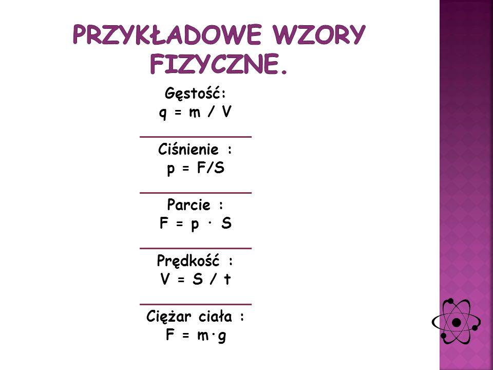 NazwaWzórFormy przekształcone SiłaF = m * aa = f/a a = F/m Gęstość ciałar = m/Vm = r * V V = m/r Ciężar ciałaF = m * g------- Mocp = W/tW = P * t t =
