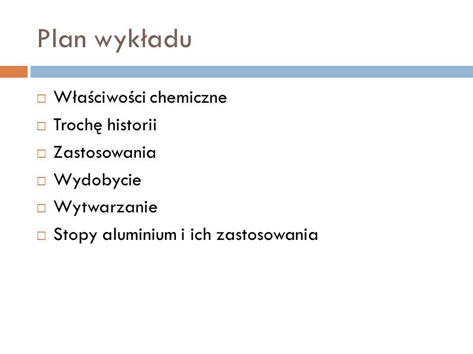 Plan wykładu Właściwości chemiczne Trochę historii Zastosowania Wydobycie Wytwarzanie Stopy aluminium i ich zastosowania