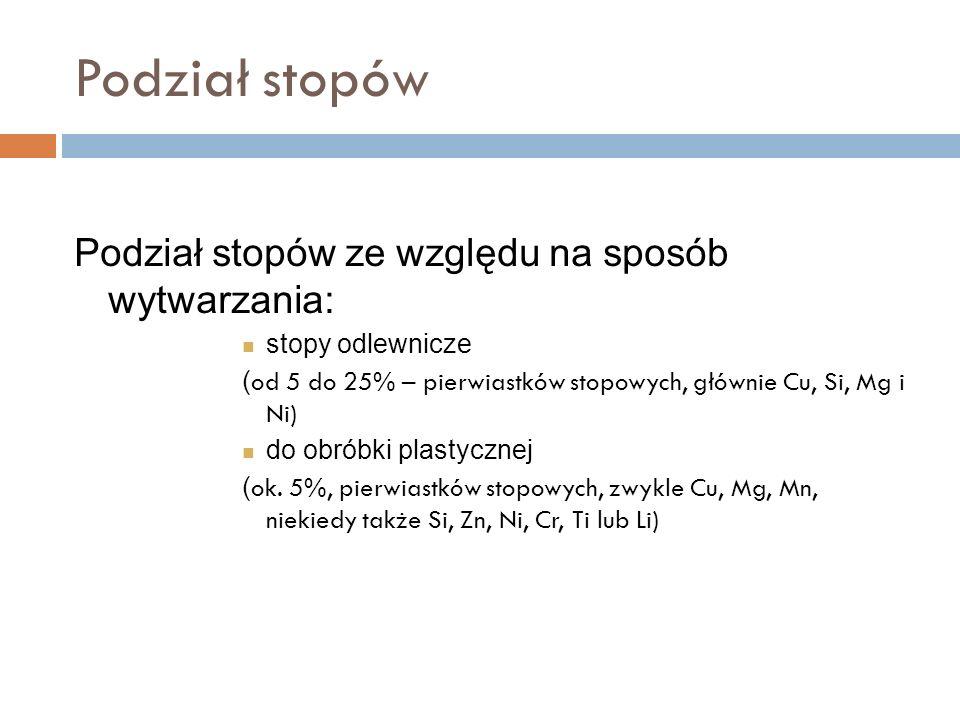 Podział stopów Podział stopów ze względu na sposób wytwarzania: stopy odlewnicze ( od 5 do 25% – pierwiastków stopowych, głównie Cu, Si, Mg i Ni) do obróbki plastycznej ( ok.