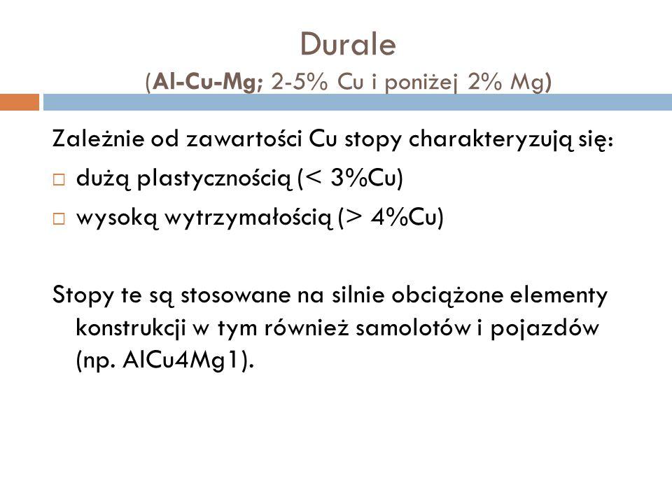 Durale (Al-Cu-Mg; 2-5% Cu i poniżej 2% Mg) Zależnie od zawartości Cu stopy charakteryzują się: dużą plastycznością (< 3%Cu) wysoką wytrzymałością (> 4%Cu) Stopy te są stosowane na silnie obciążone elementy konstrukcji w tym również samolotów i pojazdów (np.