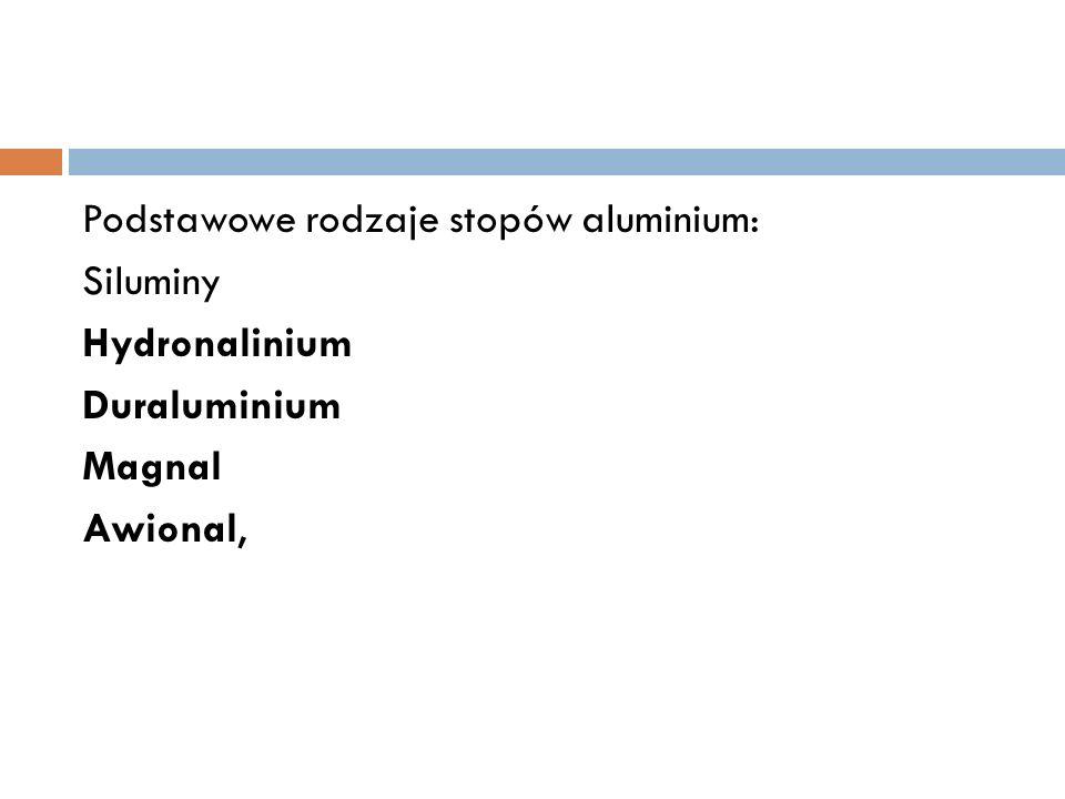 Podstawowe rodzaje stopów aluminium: Siluminy Hydronalinium Duraluminium Magnal Awional,