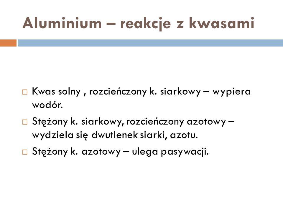 Aluminium – reakcje z kwasami Kwas solny, rozcieńczony k.