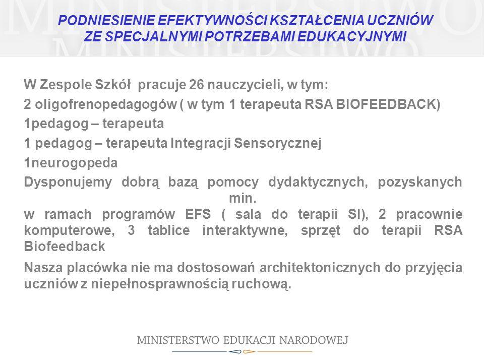 W Zespole Szkół pracuje 26 nauczycieli, w tym: 2 oligofrenopedagogów ( w tym 1 terapeuta RSA BIOFEEDBACK) 1pedagog – terapeuta 1 pedagog – terapeuta I