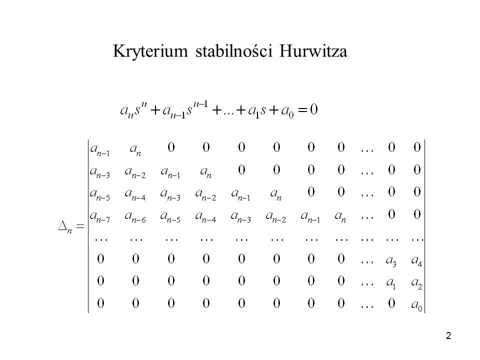 2 Kryterium stabilności Hurwitza