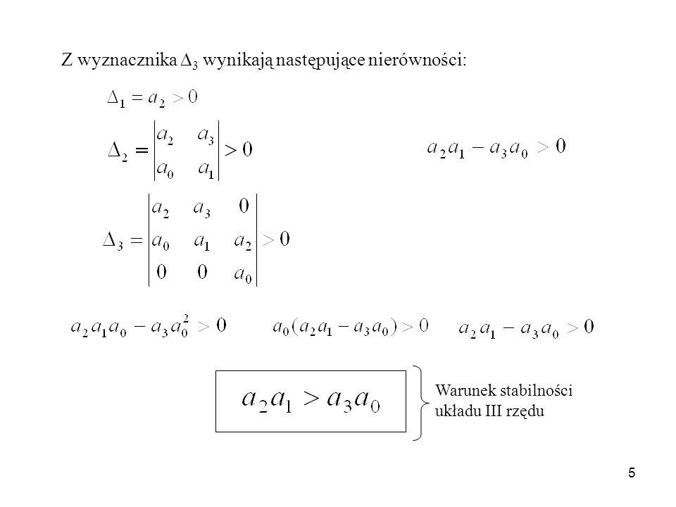 5 Z wyznacznika 3 wynikają następujące nierówności: Warunek stabilności układu III rzędu
