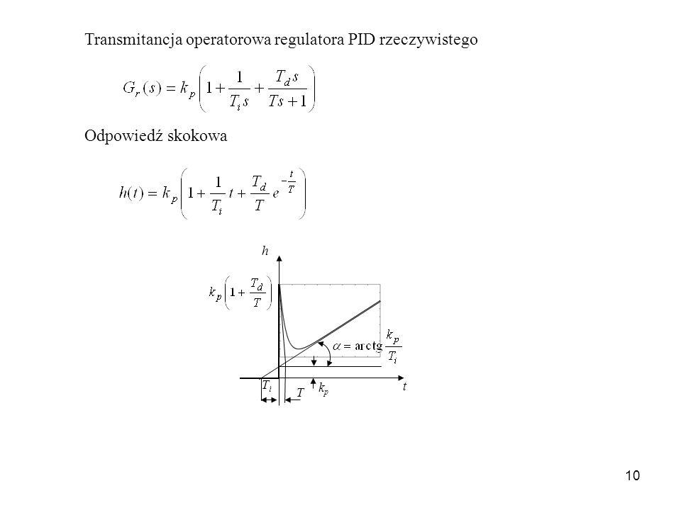 10 Transmitancja operatorowa regulatora PID rzeczywistego Odpowiedź skokowa t h TiTi T kpkp