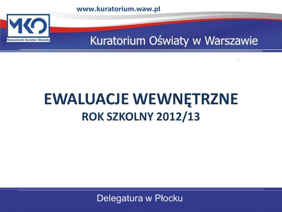 EWALUACJE WEWNĘTRZNE ROK SZKOLNY 2012/13